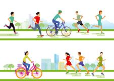 Runners and cyclists Stock Image