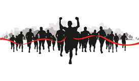 Runners in a field Royalty Free Stock Images