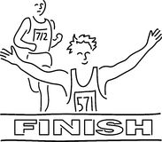 Runners Finish Line Cartoon. Cartoon illustration of runners at the finish line Royalty Free Stock Photography