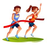 Runners finish woman and man vector illustration. Runners on finish line vector illustration of young man and woman on sport marathon or sprint running. Girl Royalty Free Stock Image