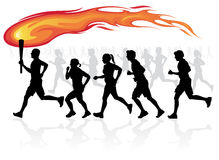 Runners with flaming torch. Royalty Free Stock Photos