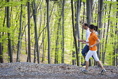 Runners in forest Royalty Free Stock Images