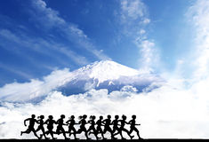 Runners with Fuji Mountain Stock Image