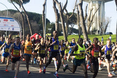 Runners at Half Marathon Romaostia 2014 Stock Image