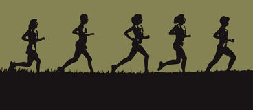 Runners on the Horizon. A vector illustration of runners running together along the horizon Stock Images