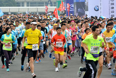 Runners in International marathon in Xiamen, China. Many runners in International marathon in Xiamen, China, January 2, 2014 Stock Photography