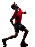 Runners joggers running injury pain cramps silhoue Royalty Free Stock Images