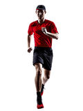 Runners joggers running jogging jumping silhouettes Royalty Free Stock Images