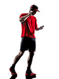 Runners joggers smartphones headphones silhouettes Stock Image