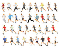 Runners. Large collection of running silhouettes, teenagers, boys and girls Stock Image