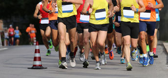 Runners during the marathon without bib number and no brand Stock Image