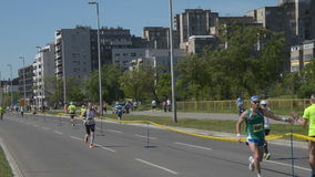 Runners During Marathon Race stock video