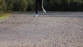 Runners during the marathon race outdoors in winter stock footage