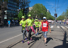 Runners at marathon run in Belgrade, Serbia Royalty Free Stock Photos