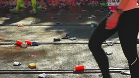 Runners passing by stock footage
