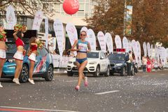 Runners prior Large group of runners gathered outdoors to participate in the annual Minsk half marathon on September 9, 2018. Stock Photography