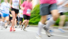 Runners at a race stock images