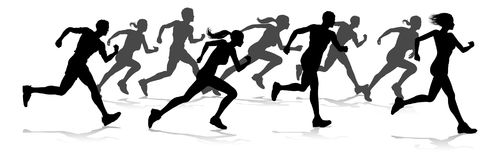 Runners Race Track and Field Silhouettes. Silhouette runners in a race track and field event royalty free illustration