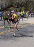 Runners ran up Heartbreak Hill during the Boston Marathon April 18, 2016 in Boston. Stock Image