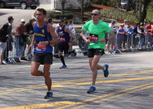 Runners ran up Heartbreak Hill during the Boston Marathon April 18, 2016 in Boston. Stock Photography