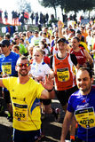 Runners in the Rome half marathon. Group of runners in the Rome half marathon on the 1st of March 2015 Royalty Free Stock Images