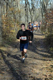 Runners run along the forest path Stock Photography