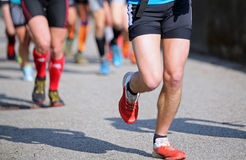 Runners run fast during the cross-country race Royalty Free Stock Images