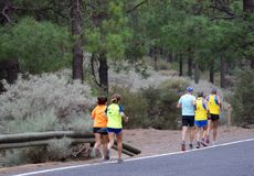 Runners. Llanos de La Pez. The Nublo Rural Park. Tejeda. Gran Canaria. Canary Islands. Spain Royalty Free Stock Image