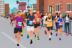 Runners Running in a Marathon Competition. A vector illustration of Runners Running in a Marathon Competition vector illustration