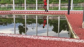 Runners running Reflections . stock video footage