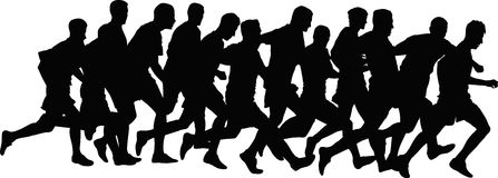 Runners. Silhouettes of runners - vector illustration stock illustration