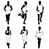 Runners silhouettes. Vector set of silhouettes of runners royalty free illustration