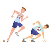 Runners sprinters start. Two men at the start of the running competition. Vector illustration, isolated on white royalty free illustration