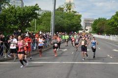 St Jude Rock n Roll Half Marathon Runners Near Finish Line. Runners in the 2019 St. Jude Rock n Roll Half Marathon in Nashville, Tennessee, round the corner to royalty free stock photos