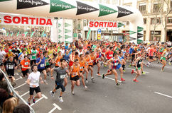 Runners on start of Cursa de El Corte Ingles Royalty Free Stock Image