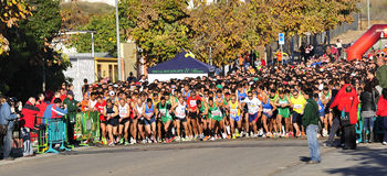 Runners on start of the half marathon Stock Images
