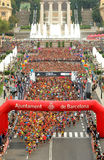 Runners on start of La Cursa de la Merce Stock Photo