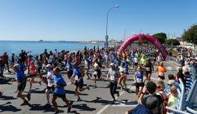 Runners during palma half marathon start line wide view. Runners start to race during the half Marathon race in the Spanish Balearic island stock images