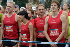 Runners on start of Vilnius Marathon Royalty Free Stock Image