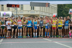 Runners on start of Vilnius Marathon Royalty Free Stock Photography