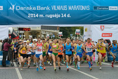 Runners on start of Vilnius Marathon Royalty Free Stock Photos