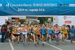 Runners on start of Vilnius Marathon Royalty Free Stock Photos