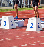 Runners at the starting block Royalty Free Stock Image