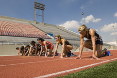 Runners On Starting Blocks Royalty Free Stock Image