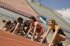 Runners On Starting Blocks stock image