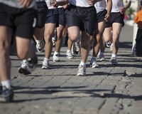 Runners on the Street. Runners training on the street, Marines Stock Images