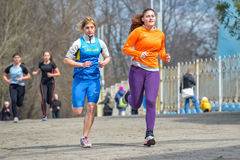 Runners are taking part in regional cross-country race Royalty Free Stock Image