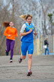 Runners are taking part in regional cross-country race Royalty Free Stock Images