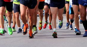Free Runners To Race To The Finish Line Of The Marathon Stock Photo - 45952130