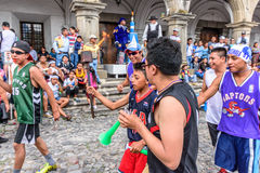 Runners with torch, Independence Day, Antigua, Guatemala Royalty Free Stock Images